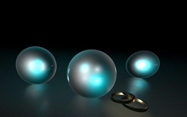 svítící koule, snubní prsteny zlaté