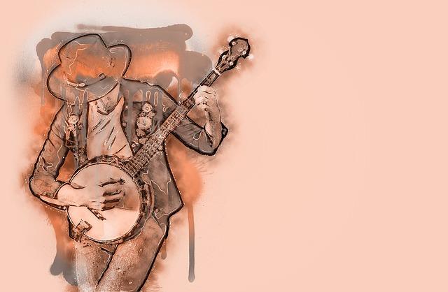 kreslený hudebník